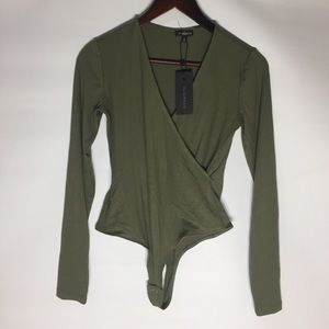 Dynamite ribbed jersey army green body suit